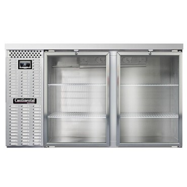 "Continental Refrigerator BB59NSSGD - Back Bar Cooler, 59""W, (2) glass doors, stainless steel"