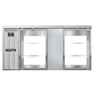 "Continental Refrigerator BB69NSSGDPT - Back Bar Cooler, pass-thru, 69""W, (4) glass doors, stainless steel"