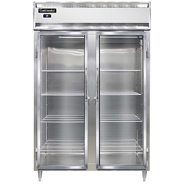 Continental Refrigerator D2RSNGD - Reach-In Refrigerator, two-section, shallow, full glass doors