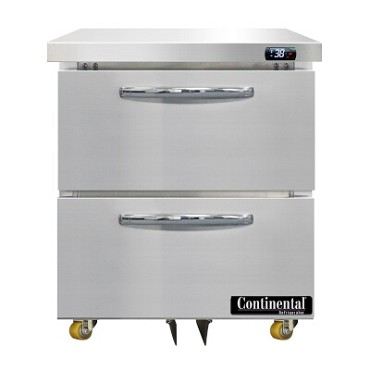 "Continental Refrigerator D27N-U-D - Undercounter Refrigerator, 27""W, one-section, (2) drawers"