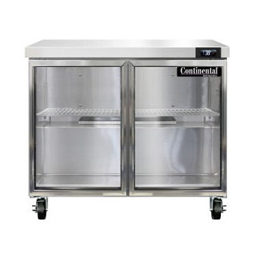 "Continental Refrigerator SW36NGD - Work Top Refrigerator, 36""W, 10.3 cu ft, two-section, (2) glass doors"