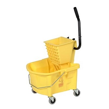 Continental 226-312YW - Mop Bucket/Wringer Combination, 26 qt., yellow, oval bucket, SW1