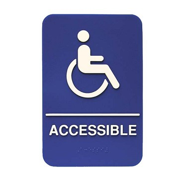 "Update International S69B-3BL - Sign, 6"" x 9"", Braille Accessible, white on blue"