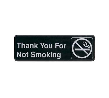 "Update S39-18BK - Sign, 3"" x 9"", Thank You for Not Smoking, white on black"
