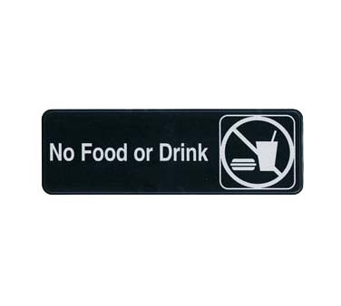 "Update International S39-30BK - Sign, 3"" x 9"", No Food or Drink, white on black"