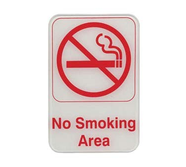 "Update International S69-12RD - Sign, 6"" x 9"", No Smoking Area, red on white"