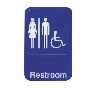 "Update International S69-7BL - Sign, 6"" x 9"", Restroom/Accessible, white on blue"