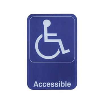 "Update International S69-13BL - Sign, 6"" x 9"", Accessible, white on blue"
