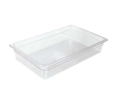 "Crestware FP46 - Food Pan, 1/4 size, 6"" deep, polycarbonate, clear, (Case of 24)"