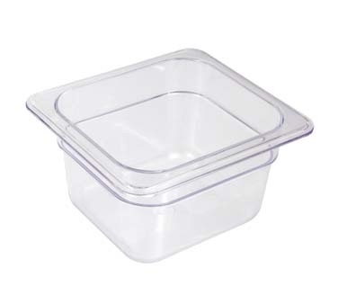 "Crestware FP66 - Food Pan, 1/6 size, 6"" deep, polycarbonate, clear, (Case of 24)"