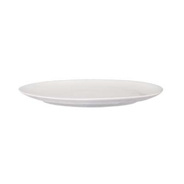 "Crestware SEM51 - Plate, 10"", oval, coupe, ceramic, pearl white, (Case of 36)"