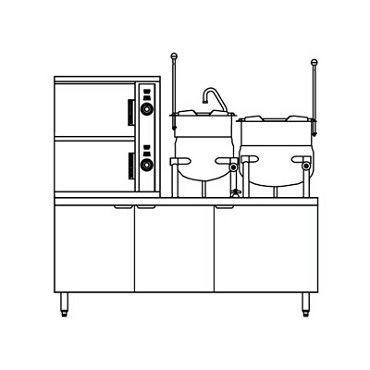 "Crown Steam DCX-2-6-6 - Convection Steamer/Kettle, direct steam, (2) compartment, (2) 6 gal., 60"" cabinet base"