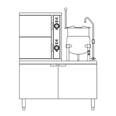 "Crown Steam ECX-2-6 - Convection Steamer/Kettle, electric, (2) compartment, (1) 6 gal., 44"" cabinet base"