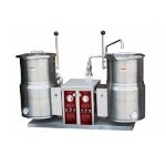 Crown Steam EC-6TW-2 - Twin Tilting Kettles, electric, countertop, 6 gallon, 2/3 jacket, lever tilt on right