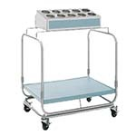Delfield UTS-1 - Tray & Silverware Cart, 10-hole bin and 1 fiberglass shelf, 4