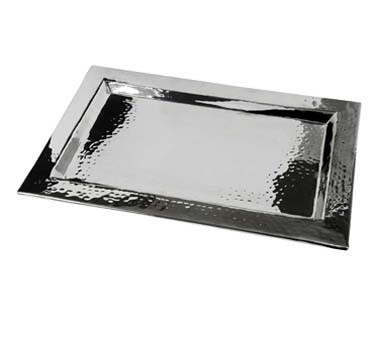 Eastern Tabletop 5493 - Rectangular Hammered Stainless Steel Tray, 18 x 12 in.