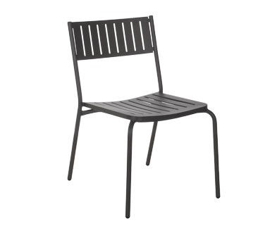 EMU 146 - Bridge Stacking Side Chair, outdoor/indoor, steel slat back and seat