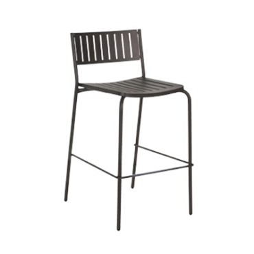 EMU 148 - Bridge Barstool, armless, outdoor/indoor, steel slat back and seat, foot rest