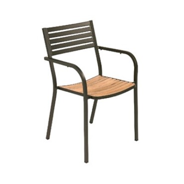 EMU 267 - Segno Stacking Armchair, outdoor/indoor, steel slat pattern back, teak seat