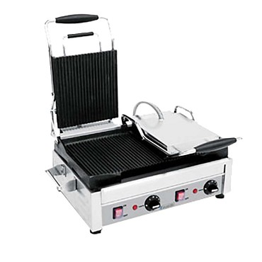 "Eurodib SFE02375-240 - Panini Grill, double, left side flat, right side ribbed, 11"" x 18"""
