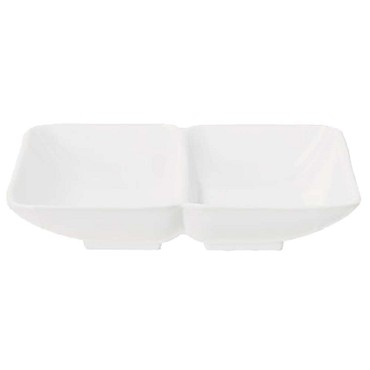GET 037-W - Hidden Treasures Sauce Dish, 1 oz., 2 section, melamine, white, (Case of 24)