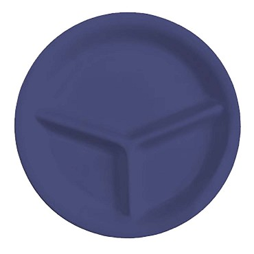 "GET CP-10-PB - Mardi Gras Plate, 10-1/4"" dia., 3-sections, peacock blue, (Case of 12)"