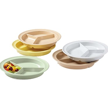 "GET CP-530-Y - Supermel Plate, 9 inch, 3/4"" deep, 3-sections, yellow, (Case of 12)"