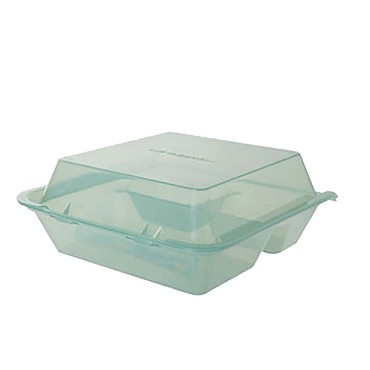 GET EC-01-1-JA - Eco-Take Out Container, 9 x 9 x 3-1/2 inch, 3 sections, jade, (Case of 12)