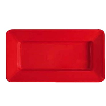 "GET ML-10-RSP - Red Sensation Plate, 15"" L x 8""W, wide rim, red, (Case of 12)"