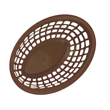 GET OB-734-BR - Bread & Bun Basket, 8 x 5-1/2 inch, oval, brown, (Case of 36)