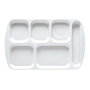GET TR-151-FB - Cafeteria Tray, 15-1/2 x 10 inch, 6 sections, right-hand, blue, (Case of 12)