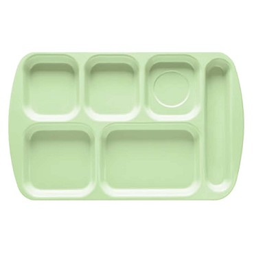 GET TR-151-G - Cafeteria Tray, 15-1/2 x 10 inch, 6 sections, right-hand, green, (Case of 12)