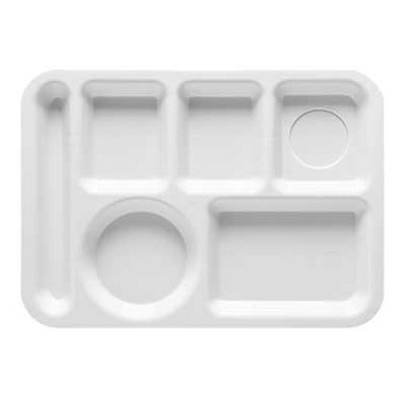 GET TL-152-FG - Cafeteria Tray, 14 x 10 inch, 6 sections, left-hand, green, (Case of 12)