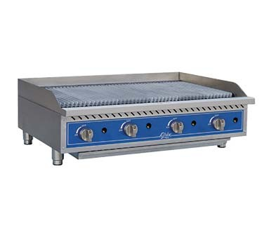 Globe GCB48G-RK - Char Rock Countertop Gas Charbroiler, 48 in.
