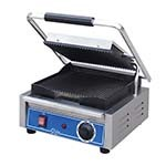 Globe GPG10 - Single Countertop Bistro Panini Grill w/Grooved Plates