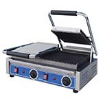 Globe GPGDUE10 - Double Countertop Panini Grill w/Grooved Plates, 10 x 10 in
