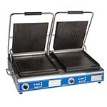 Globe GPGSDUE14D - Sandwich Grill, double, electric, grooved tops and smooth bottom plates