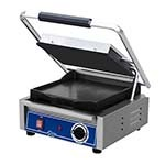 Globe GSG10 - Single Countertop Bistro Panini Grill w/Smooth Plates, 10 x 10 in.