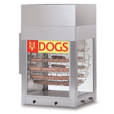 Gold Medal 8102 - Hot Dogeroo Rotisserie Cooker w/bun warmer, (56) hot dogs/(28) buns