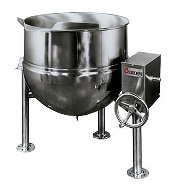 Groen DL-80 - Tilting Kettle, direct steam, 80-gallon capacity, manual  tilt, 2/3 jacket, tri-leg base
