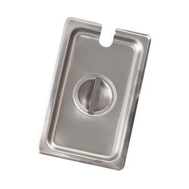 Browne CP8142NC - Steam Table Pan Cover, 1/4 size, notched, solid, 24 gauge stainless