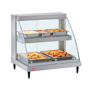 Hatco GRCD-2PD - Heated Display Case, curved glass, (2) pan dual shelves, lighted