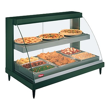 Hatco GRCDH-3PD - Heated Display Case, humidity, curved glass, (3) pan dual shelves, lighted