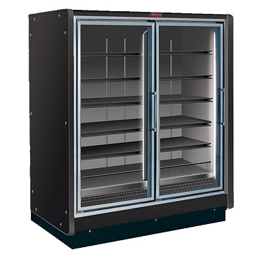 Howard-McCray RIN2-24-LED-B - Refrigerator Merchandiser, 2 section, hinged glass doors