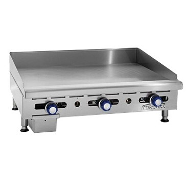 "Imperial IMGA-3628-1 - Countertop Griddle, gas, 36""W x 24""D surface, (3) burners, 1"" thick smooth plate"