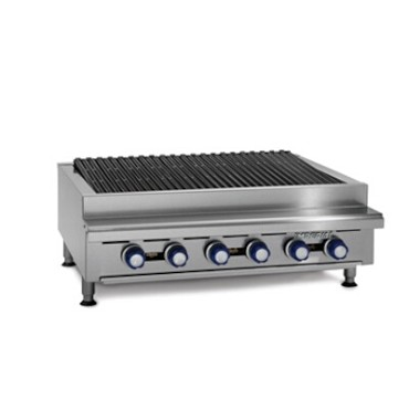 "Imperial IRB-36 - Countertop Charbroiler, gas, 36""W, (6) radiant burners, cast iron slanted top grates"