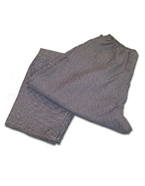 "Intedge 344-HT - Chef Pants w/ 1"" Elastic Waist, Houndstooth, Zipper Fly, Reinforced Crotch"