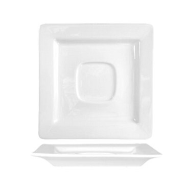 International Tableware EL-2 - Square Porcelain Saucer w/Well Ring, 5-7/8 in. (Case of 36)