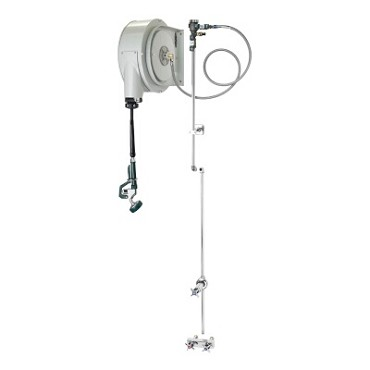 "Krowne 24-500 - Pre-Rinse Hose Reel Assembly, 4"" Center Faucet, 44"" Overall Height"
