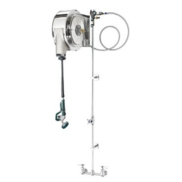 "Krowne 24-502 - Pre-Rinse Hose Reel Assembly, 8"" Center Faucet, 57-1/2"" Overall Height"